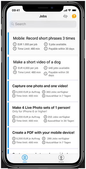 Clickworker App select Job