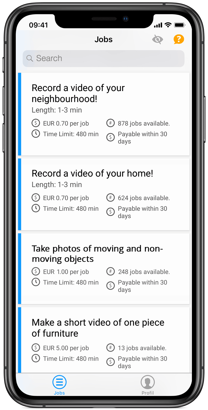 Clickworker App select Job